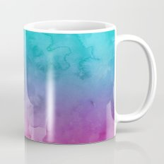 Modern bright summer turquoise pink watercolor ombre hand painted background Mug