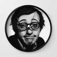 woody allen Wall Clocks featuring Woody Allen by Alexia Rose