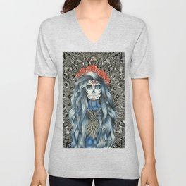 Full Page Day of the Dead Woman Mandala Unisex V-Neck