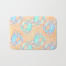 Crab orange blue nautical Bath Mat