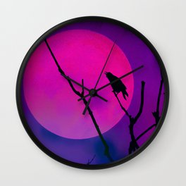 The Crow And The Pink Moon Wall Clock