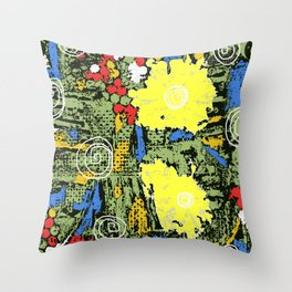 digital collagraph floral print Throw Pillow