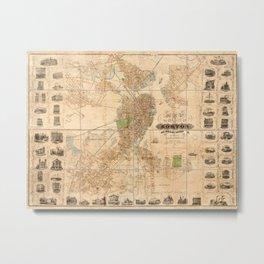 Map Of Boston 1852 Metal Print