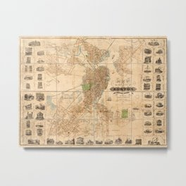 Map Of Boston 1852 Metal Print