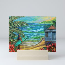 Vintage Hawaiian Surfer Girl Fine Art Print Mini Art Print