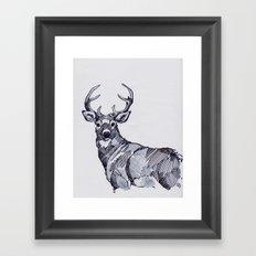 Oh My Deer Black and White Framed Art Print