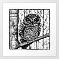 Owl - Black & White Art Print
