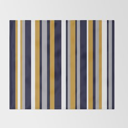 Modern Stripes in Mustard Yellow, Navy Blue, Gray, and White. Minimalist Color Block Throw Blanket