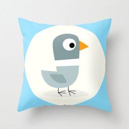 Mr Bird Blue Throw Pillow