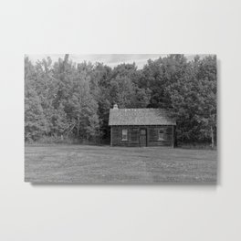 Little House Black and White Metal Print