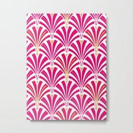 Art Deco Fan Pattern, Fuchsia Pink and White Metal Print