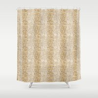 gold glitter Shower Curtains featuring Gold Glitter Alligator Print by Zen and Chic
