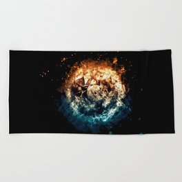 Burning Circle - Fire and Ice - Isolated Beach Towel