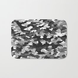 Foliage Abstract Pop Art In Monotone Black and White Bath Mat
