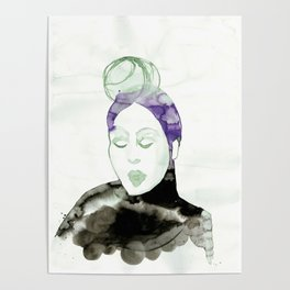 Vintage 50s Hairdo in Purple and Green Poster