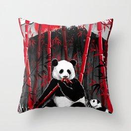 Red Bamboo Panda Throw Pillow