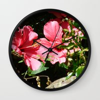 hibiscus Wall Clocks featuring Hibiscus by WonderfulDreamPicture