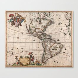 Vintage Map of North and South America (1658) Canvas Print