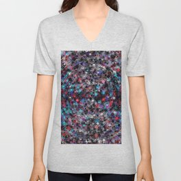geometric circle and square pattern abstract in blue and red Unisex V-Neck