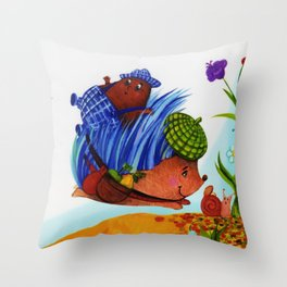 Prickly the Hedgehog with Digby Deep Throw Pillow