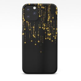 Twinkle Golden Stars -Dream- Black and Gold iPhone Case