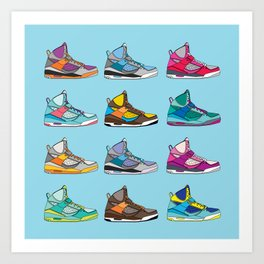 Colorful Sneaker set illustration blue illustration original pop art graphic print Art Print