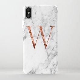 Monogram rose gold marble W iPhone Case