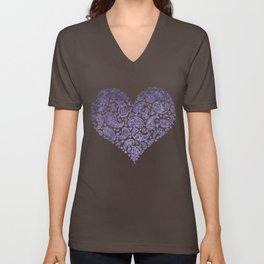 Purple Brocade Paisley Heart Unisex V-Neck