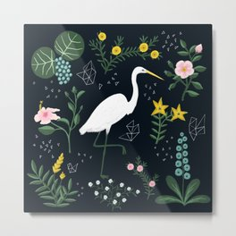 """Tropical Birds and Flowers"" on Midnight Blue by Bex Morley Metal Print"