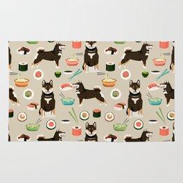 shiba inu sushi black and tan dog breed pet pattern dog mom Rug
