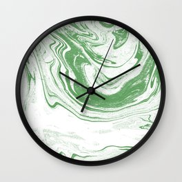 Marble suminagashi spilled ink 4 swirl marbled pattern basic green and white Wall Clock