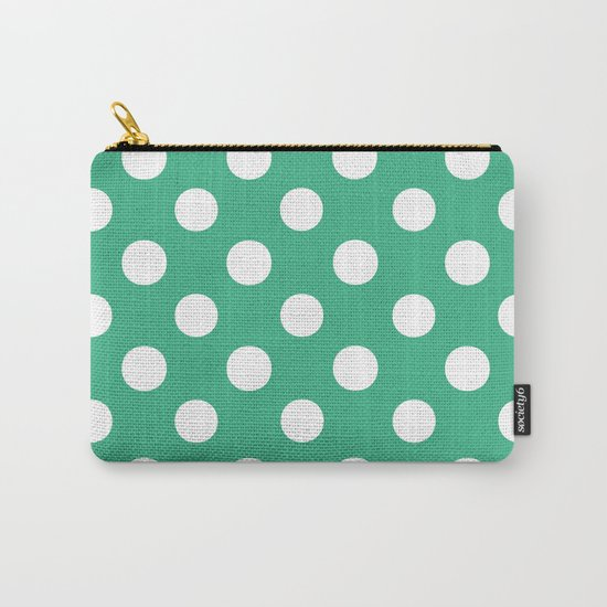 Polka Dots (White/Mint) Carry-All Pouch