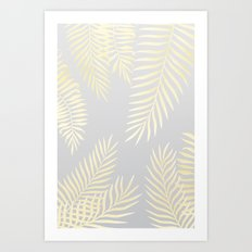 Gold palm leaves on grey Art Print
