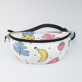 cute pattern with exotic leaves, bananas, pineapples, lemons, watermelon, cherries and strawberries Fanny Pack
