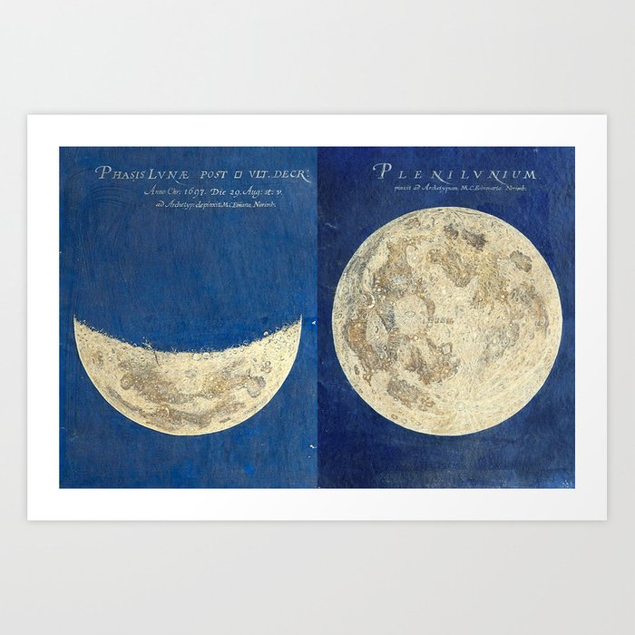 17th-Century Astronomical Art by Maria Clara Eimmart: Moon Phases Art Print