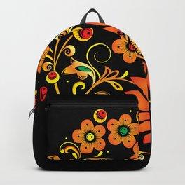 Black floral khokhloma Backpack