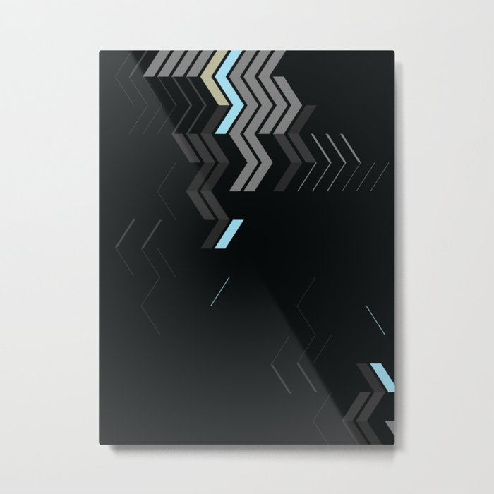Deconstructed Chevron C – Gray / Gold / Blue Abstract Pattern Metal Print