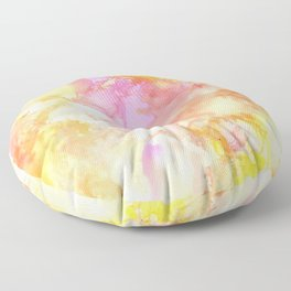 Pink and Yellow Abstract Floor Pillow