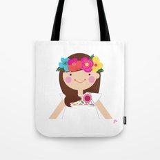 Brunette Floral Crown Girl Tote Bag