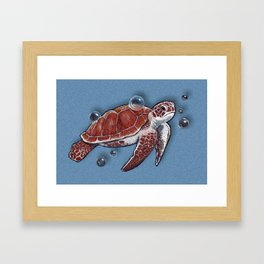 Turtle Swimming, Bubbles, Ocean Blue, Wildlife Art Framed Art Print