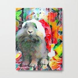 Santa Bunny is Watching You Metal Print