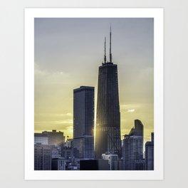 Sunlight peeking through Chicago skyscrapers Art Print