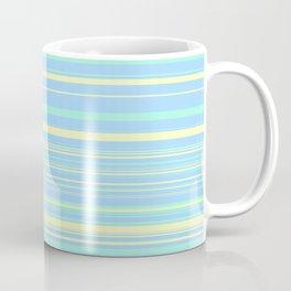 Sky Blue & Light Yellow Candy Lines Coffee Mug