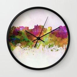 Sarasota skyline in watercolor background Wall Clock