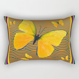 Dark Teal Yellow Butterflies Pattern Rectangular Pillow