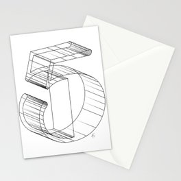 """ Numbers Collection "" - Number Five 3D Stationery Cards"