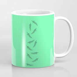 Simple Neon Mint Green with Minimalistic Feathers Coffee Mug