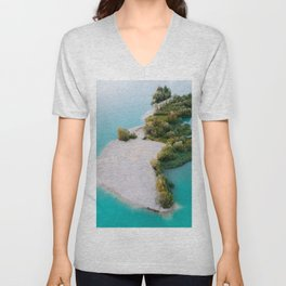 Magical Forest Island with a beach in the middle of a cyan lake – Landscape Photography Unisex V-Neck