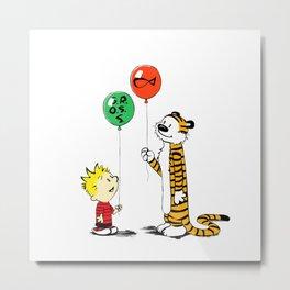 calvin and hobbes ballon Metal Print