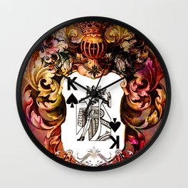 Poker King Spades colored Wall Clock